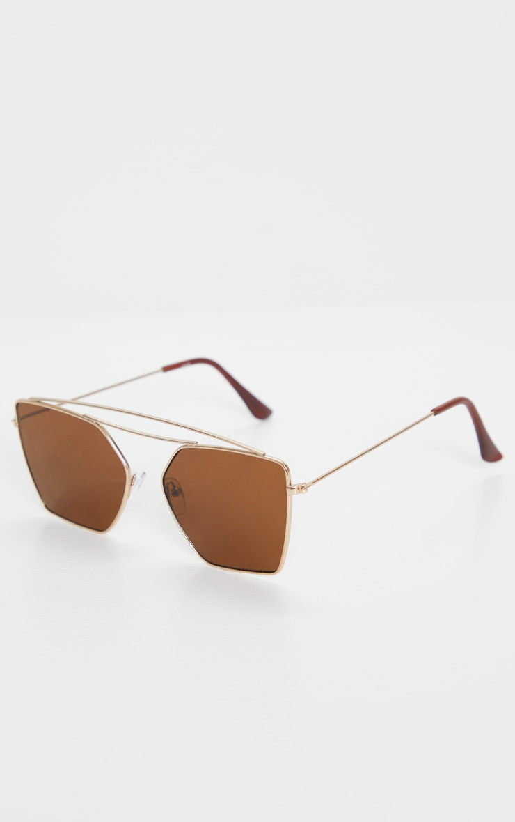 Gold Trim Double Bar Sunglasses 3