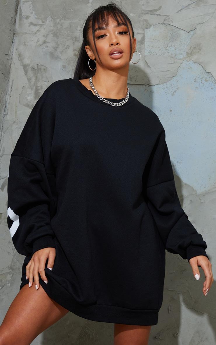 Petite Black Buffalo New York Slogan Sweater Dress 3