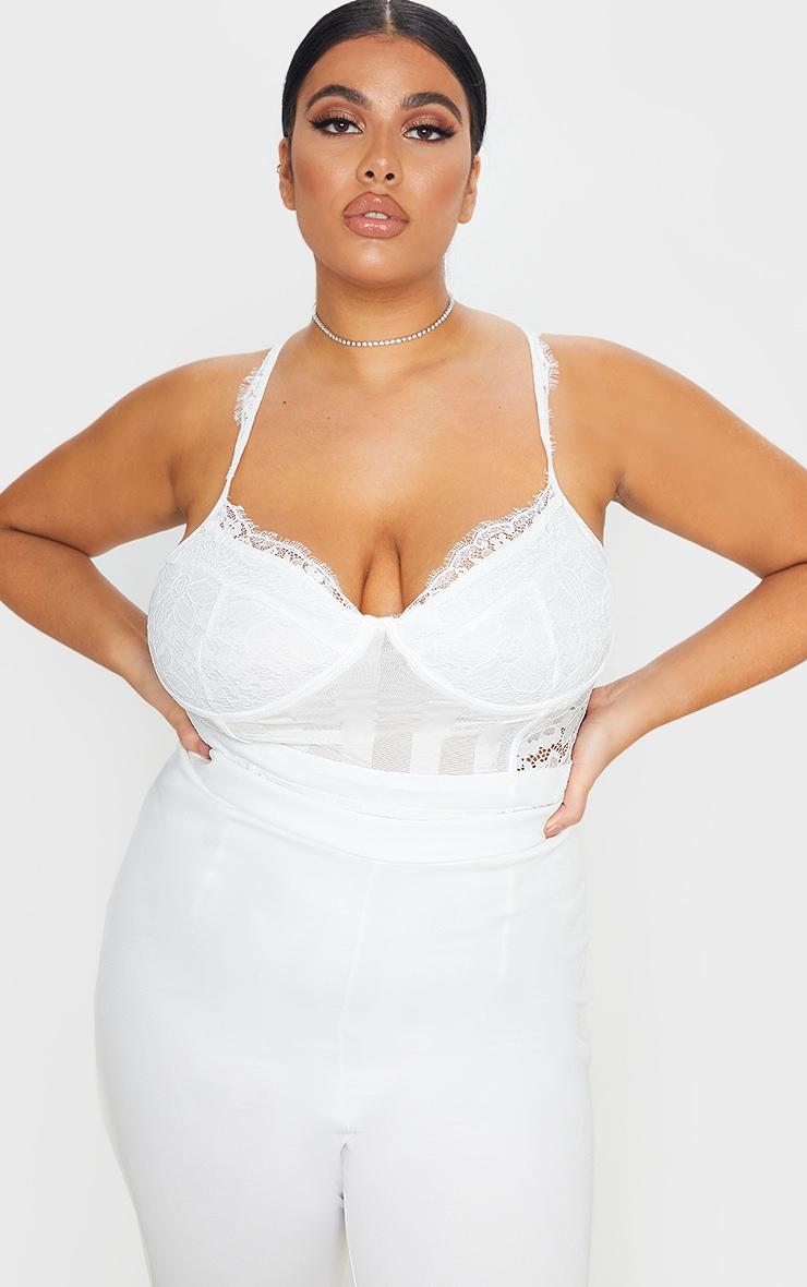 Plus White Lace Mesh Stripe Bodysuit 1