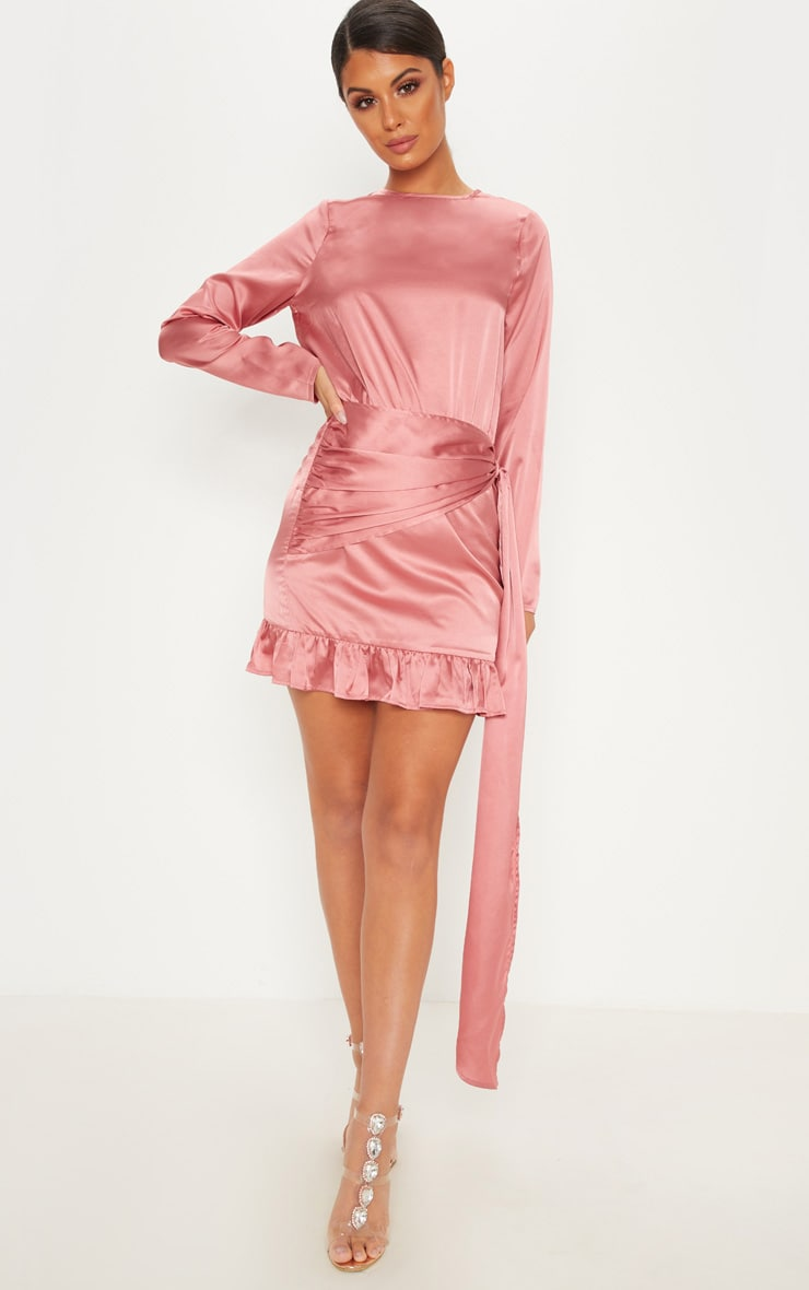 Rose Satin Drape Frill Hem Bodycon Dress 4