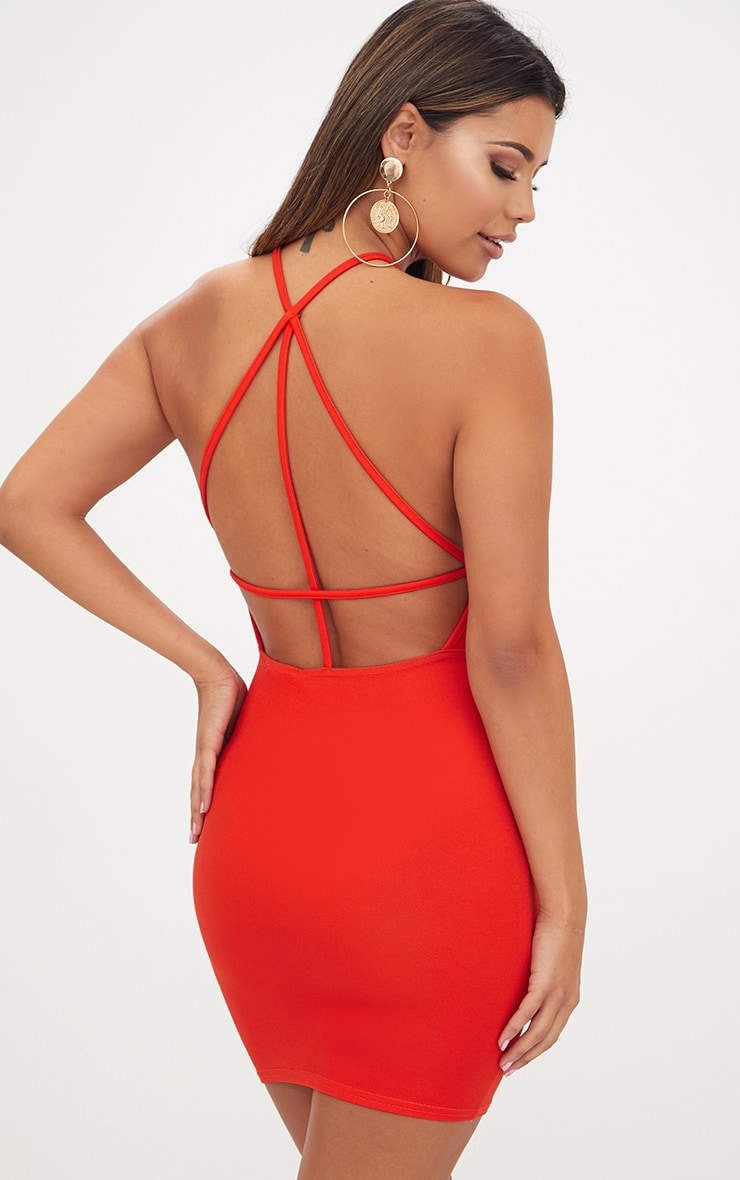 Tomato Red High Straight Neck Strappy Back Bodycon Dress 1