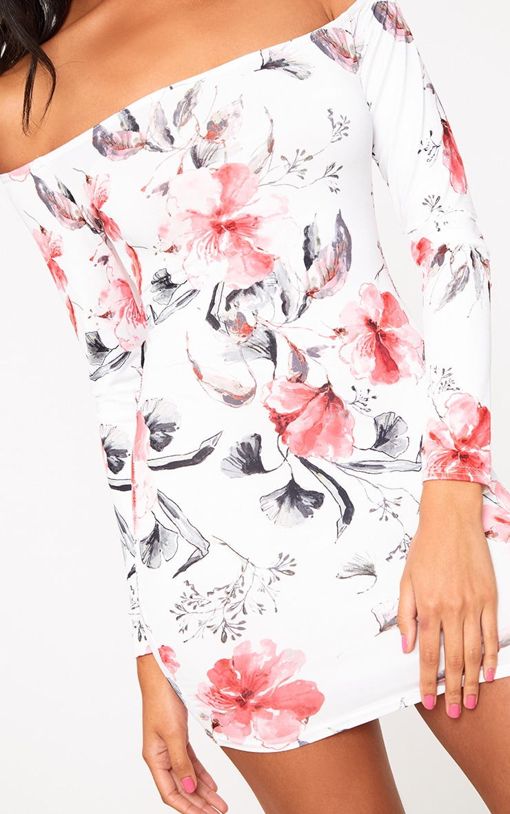 White Bardot Floral Bodycon Dress 4