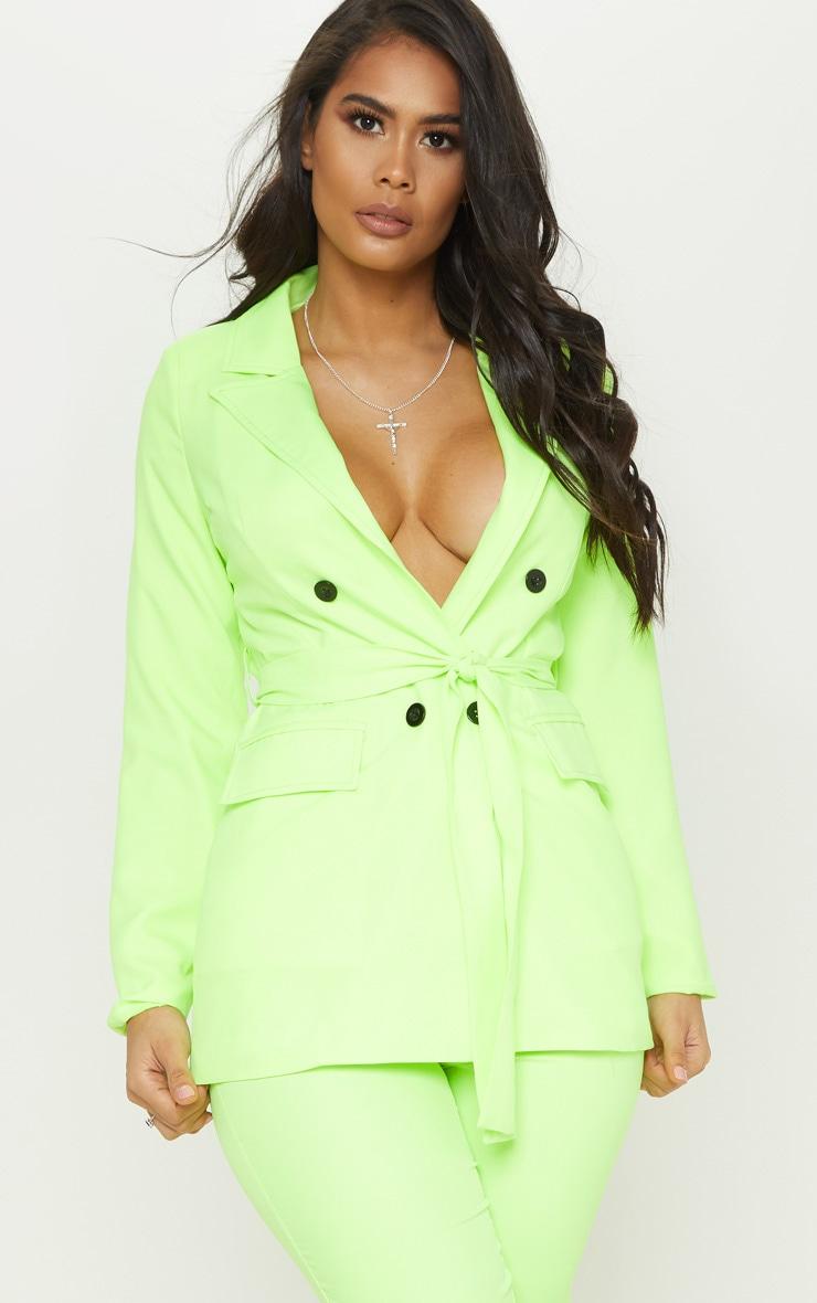 Neon Lime Belted Longline Woven Blazer  1