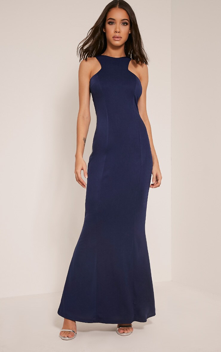 Natalia Navy Racer Neck Crepe Maxi Dress 1
