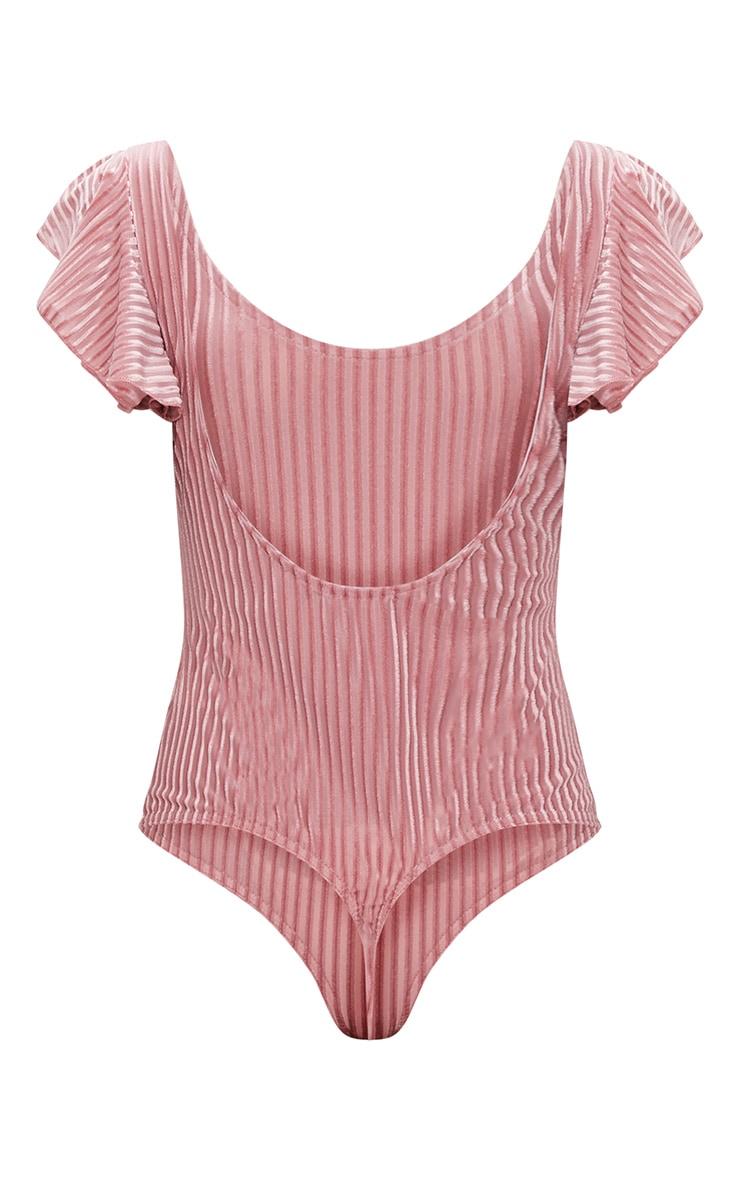 Rose Velvet Stripe Scoop Back Thong Bodysuit  4
