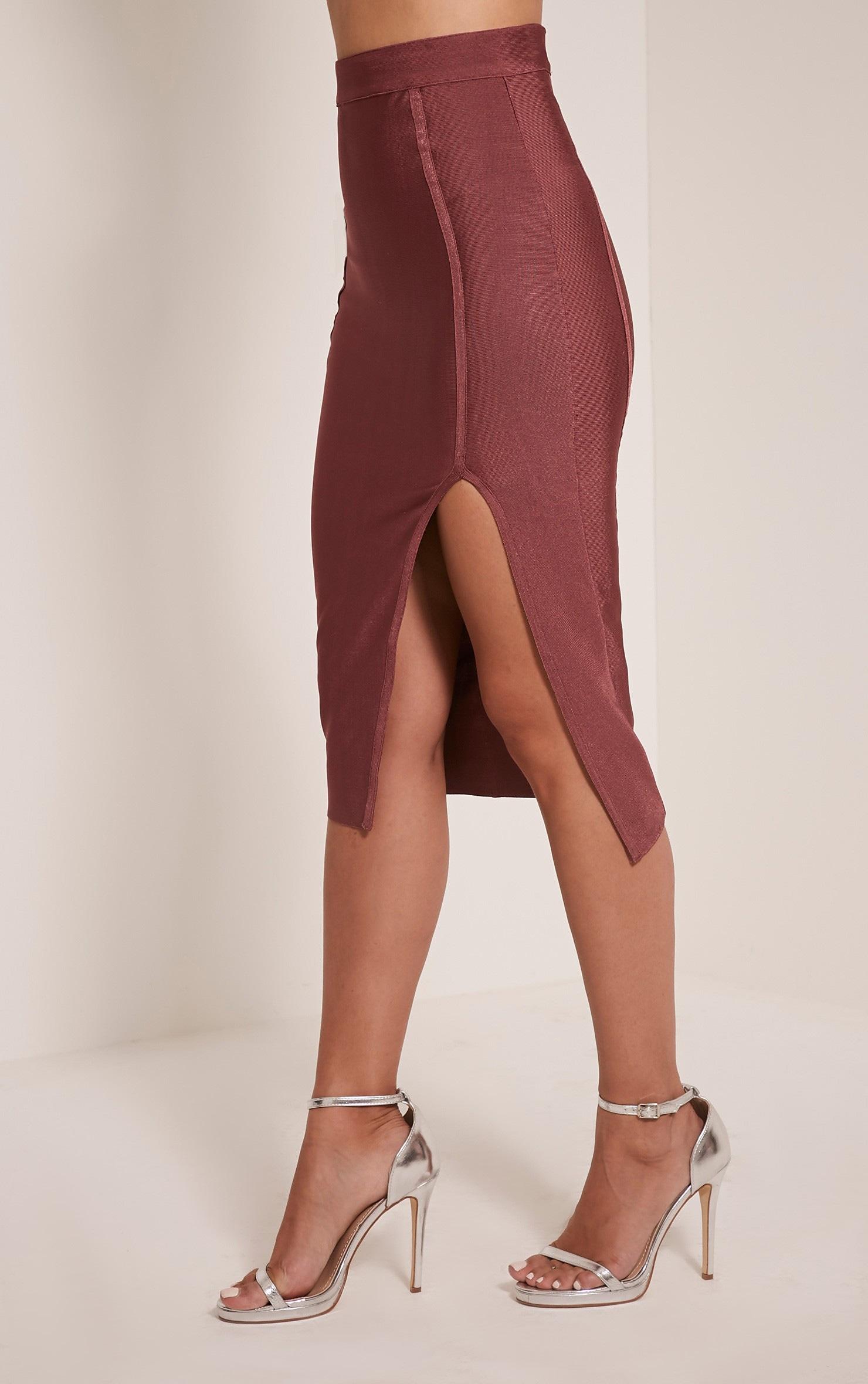 Caitlyn Premium jupe midi bandage rose 4