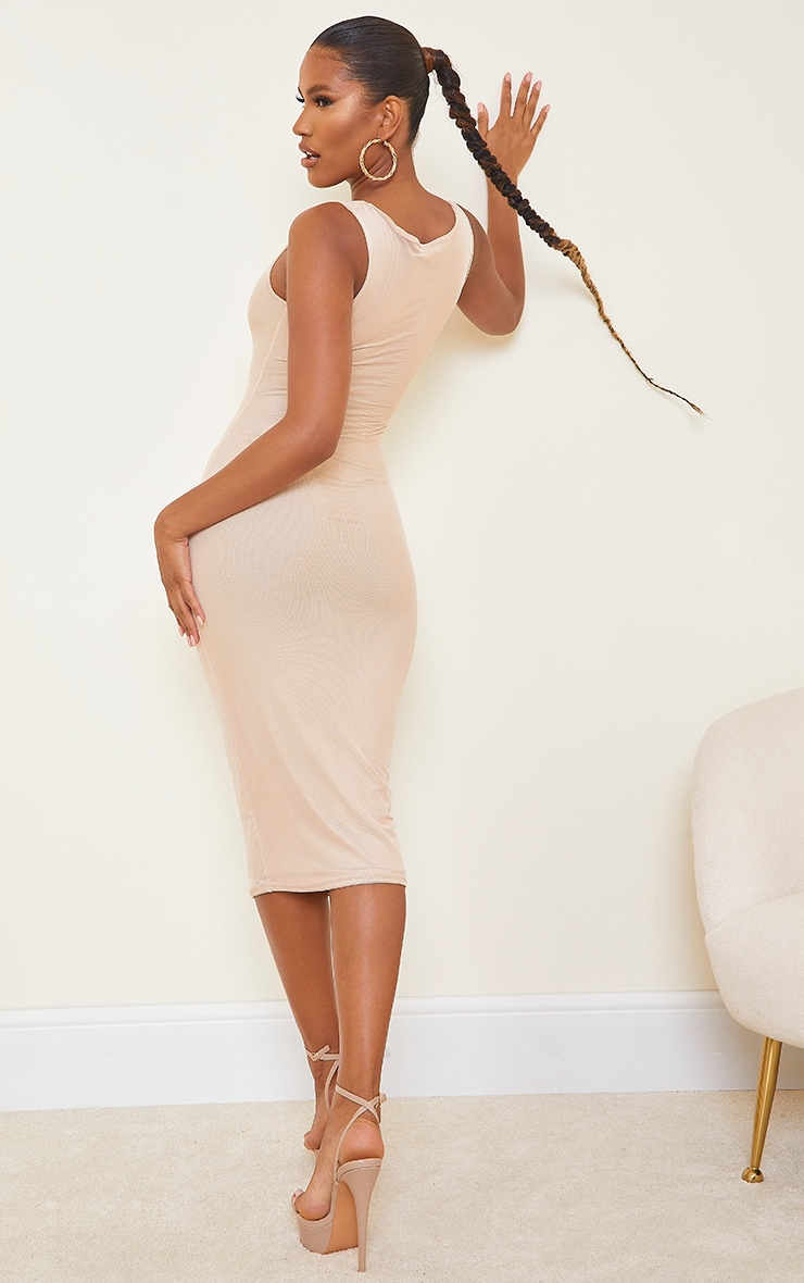 Sand Power Mesh Sleeveless Midi Dress 2