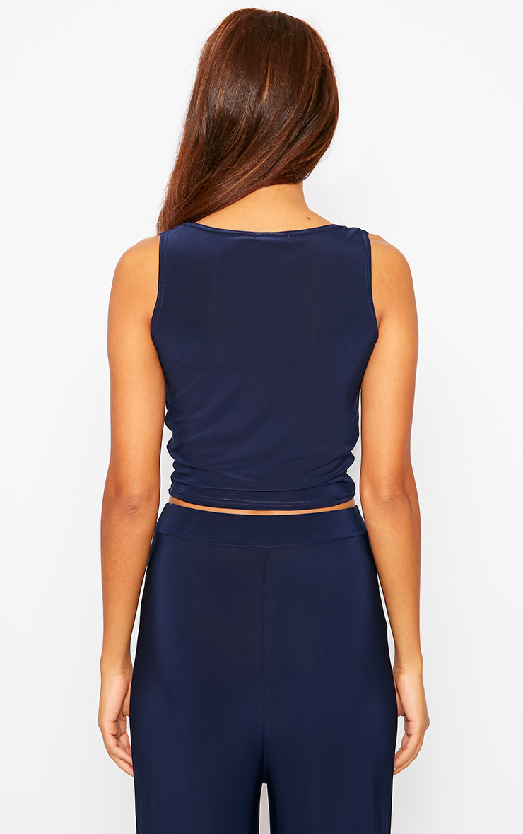 Zuri Navy Crepe Sleeveless Knot front Crop Top 2