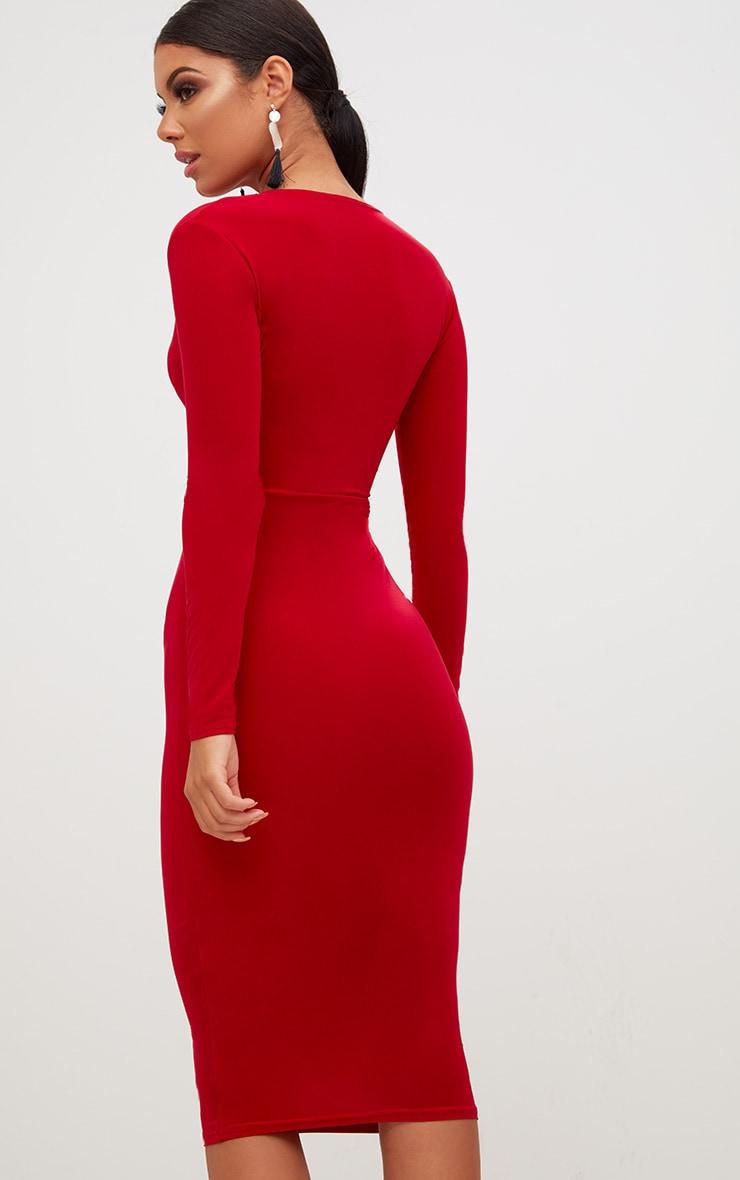 Red Long Sleeve Plunge Slinky Midi Dress 2