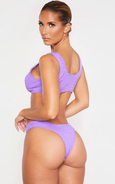 Purple Crinkle Scoop Neck Bikini Top