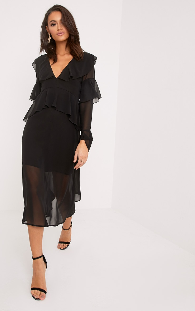 Kaselia Black Frill Detail Midi Dress 3