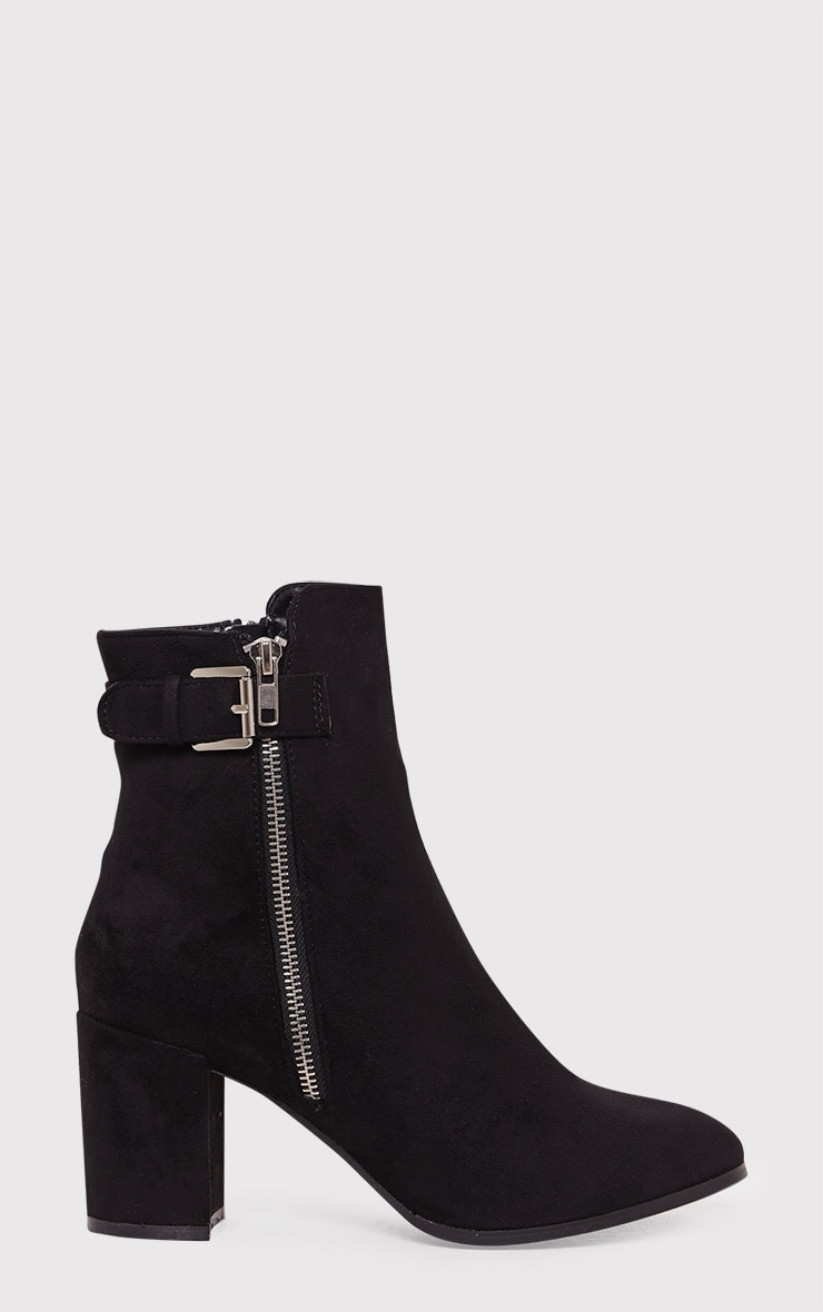 Karina Black Faux Suede Buckle Ankle Boots 1