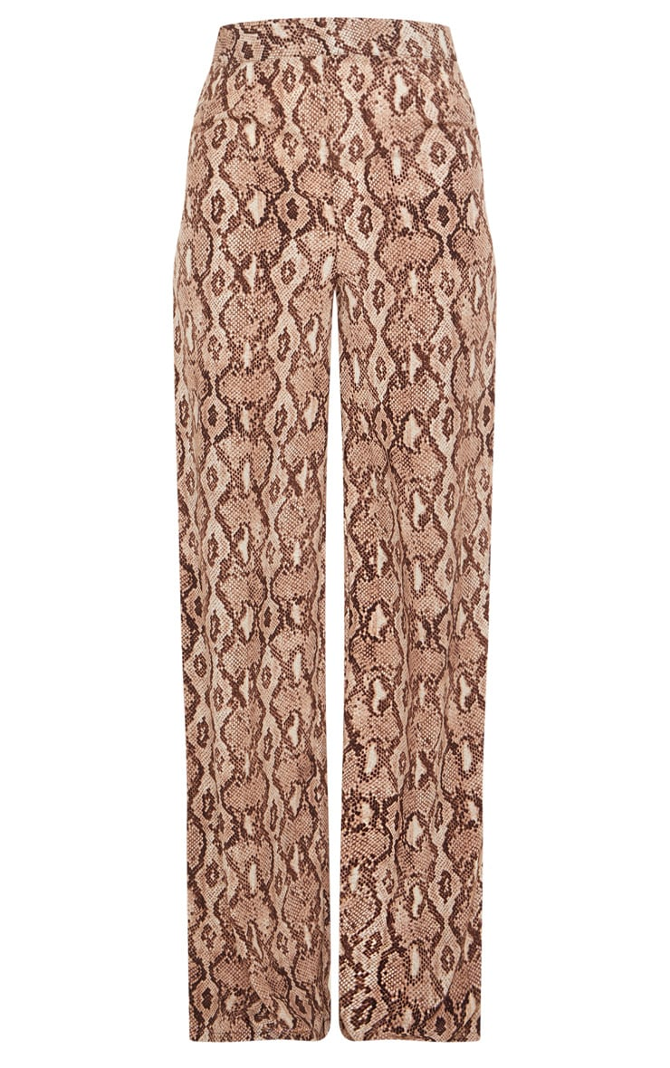 Tall Taupe Snake Print Wide Leg Satin Pants 3