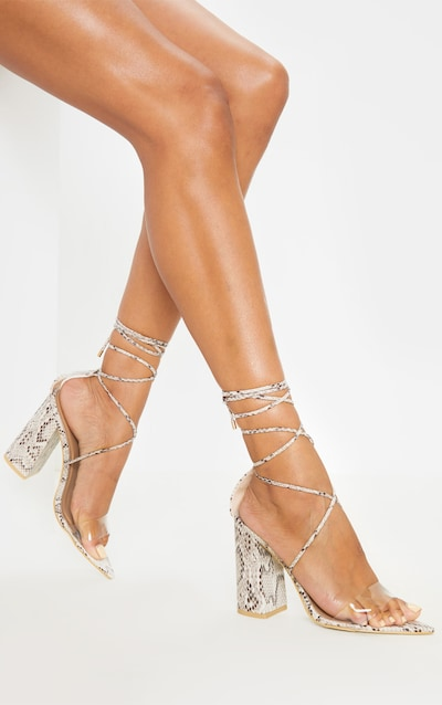 Snake Ankle Lace Up Block Heel Point Toe Sandal