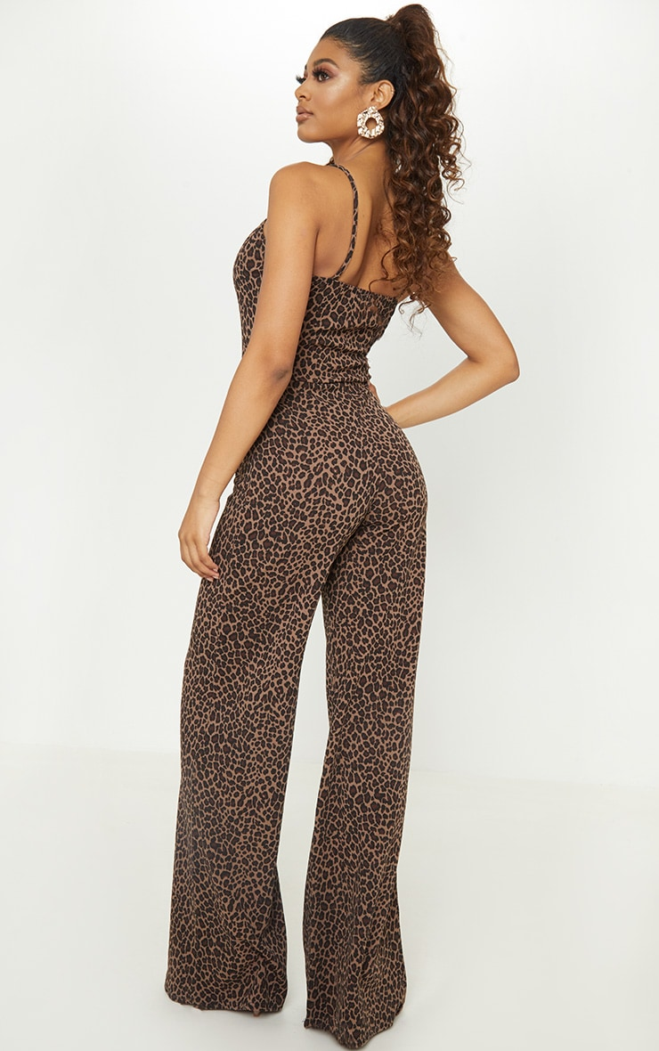 Tall Tan Leopard Print Tortoise Ring Jumpsuit 2