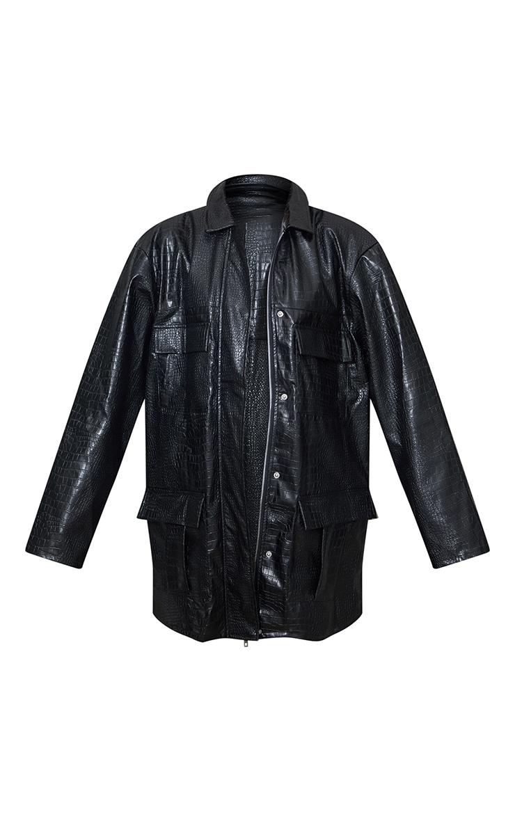 Black Croc PU Oversized Utility Jacket 5