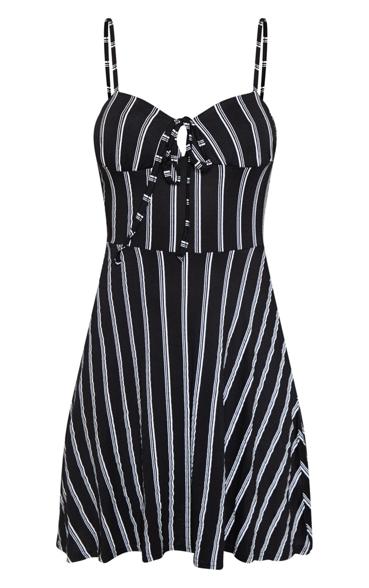 Black Stripe Tie Front Skater Dress 3