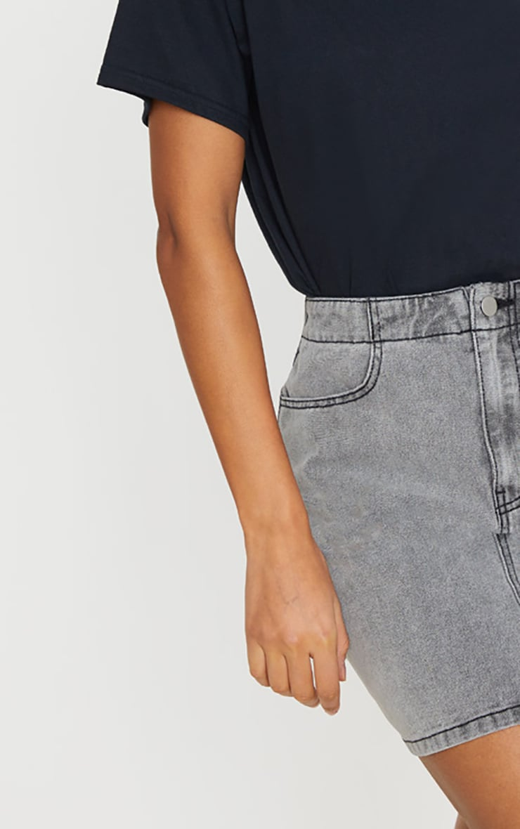 Washed Grey Ruched Waist Denim Skirt 4