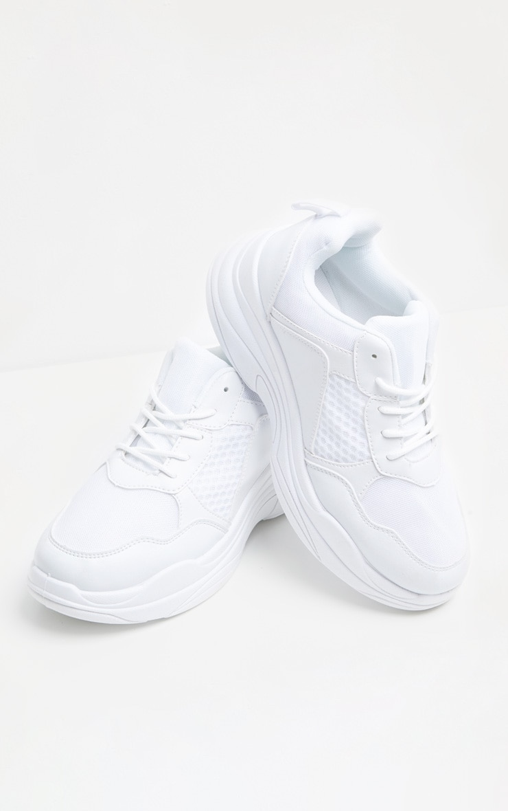 White Mesh Chunky Sole Lace Up Trainer 3