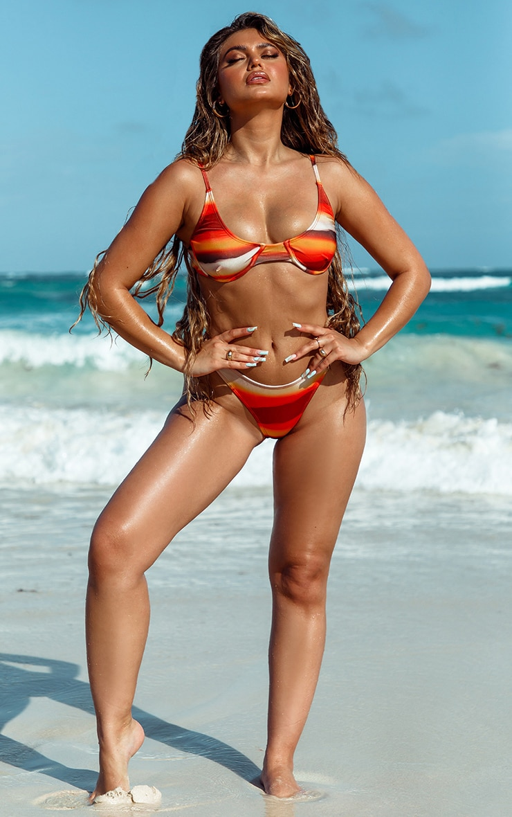 Orange Ombre High Leg Bikini Bottom