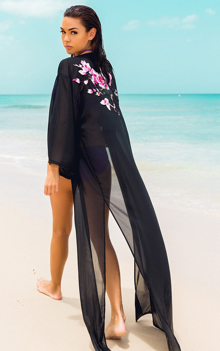 Sharley Black Floral Embroidery Maxi Kimono 1