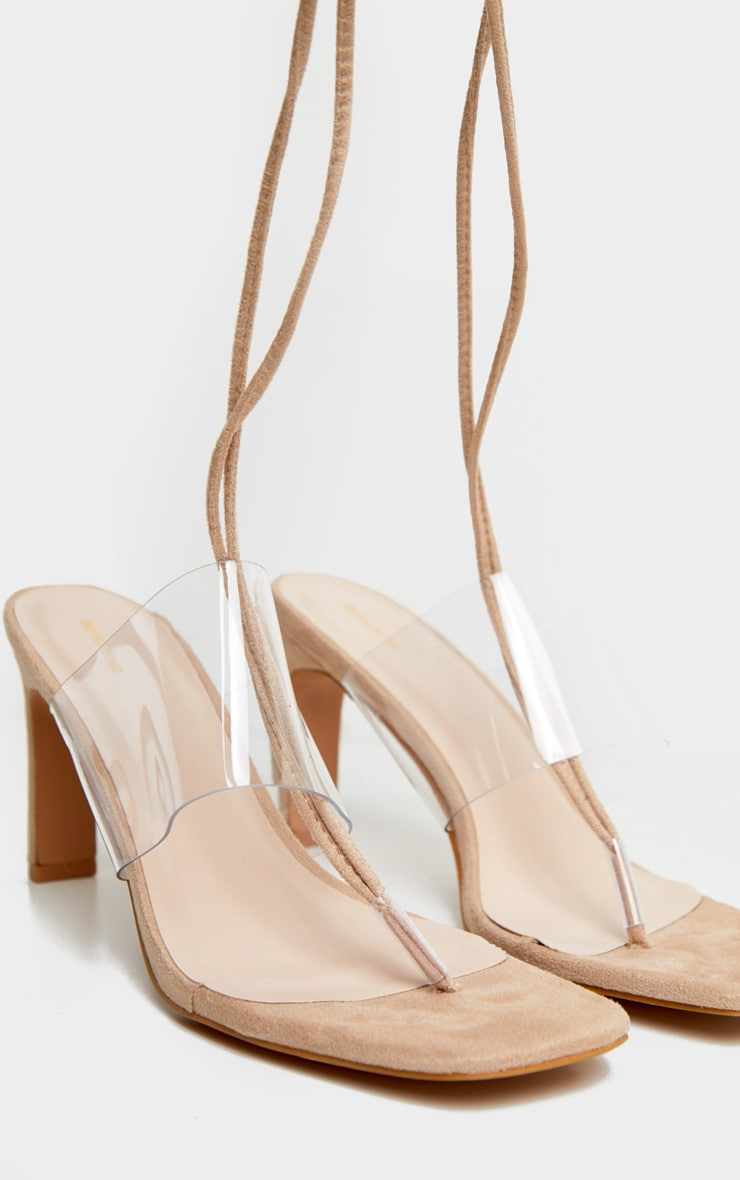 Nude Toe Thong Lace Up Strappy Flat Heel Sandals 5