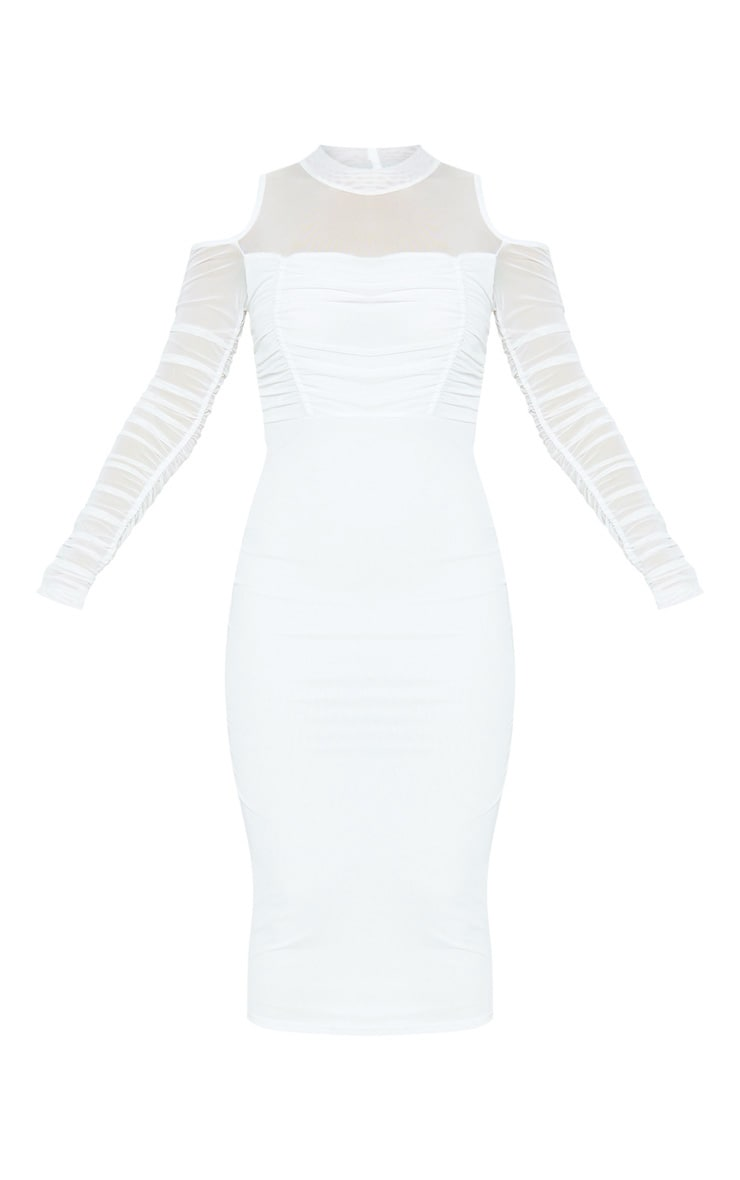 White Cold Shoulder Ruched Sleeve Midi Dress 3