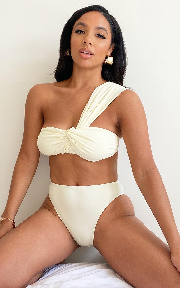 Cream Padded Tie One Shoulder Bikini Top 1