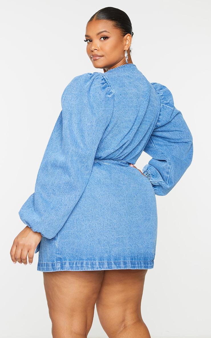 Plus Light Wash Denim Puff Sleeve Wrap Dress 2