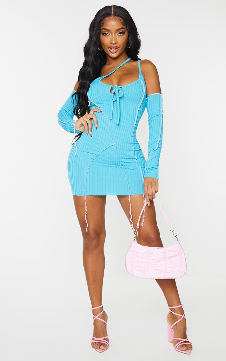 PRETTYLITTLETHING Shape Bright Blue Rib Contrast Lace Up Strap Detail Bodycon Dress 3
