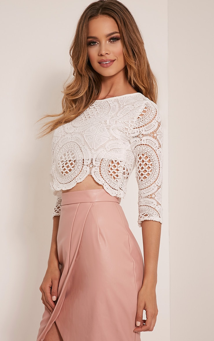 Anuskha White Embroidered Lace Long Sleeve Top 4