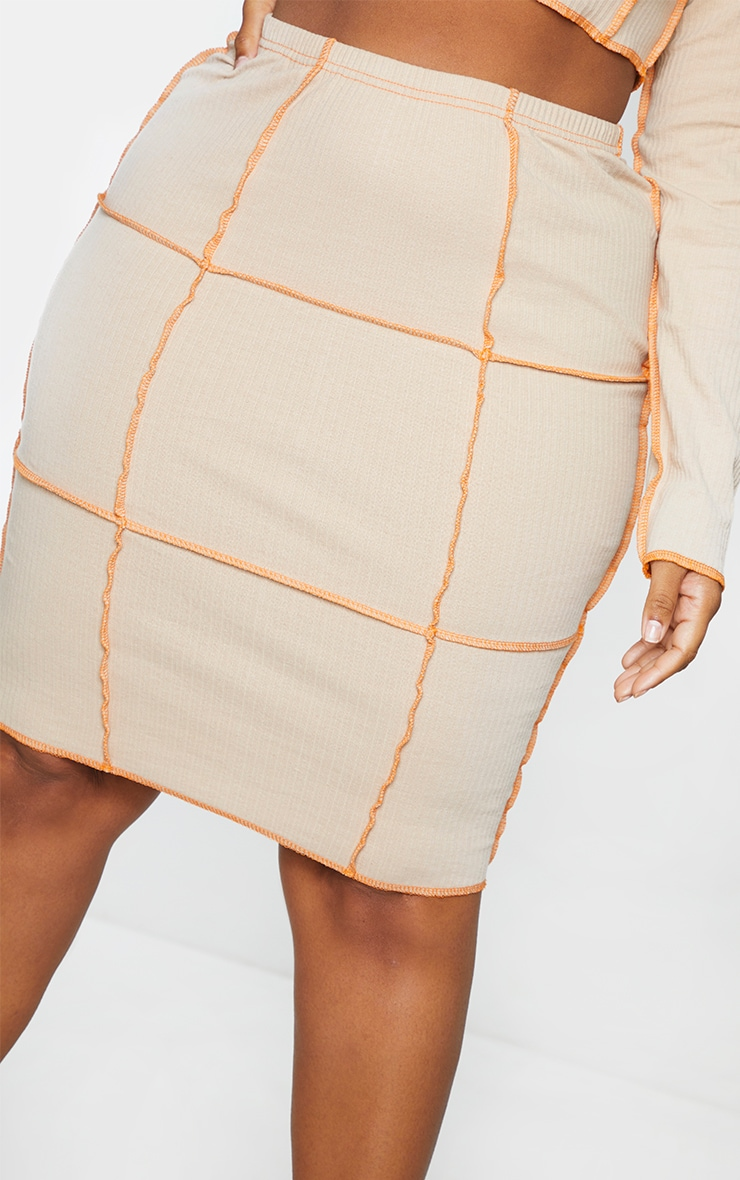 Plus Stone Contrast Rib Midi Skirt 5
