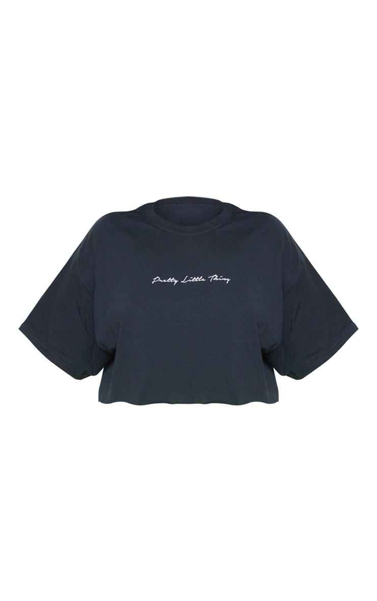 PRETTYLITTLETHING Plus Black Slogan Cropped Shirt 4