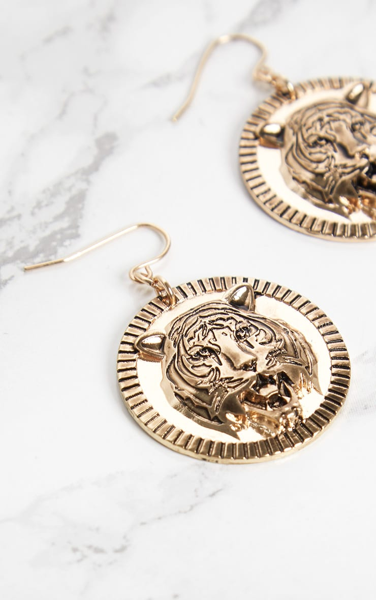 Gold Tiger Coin Drop Earrings 4