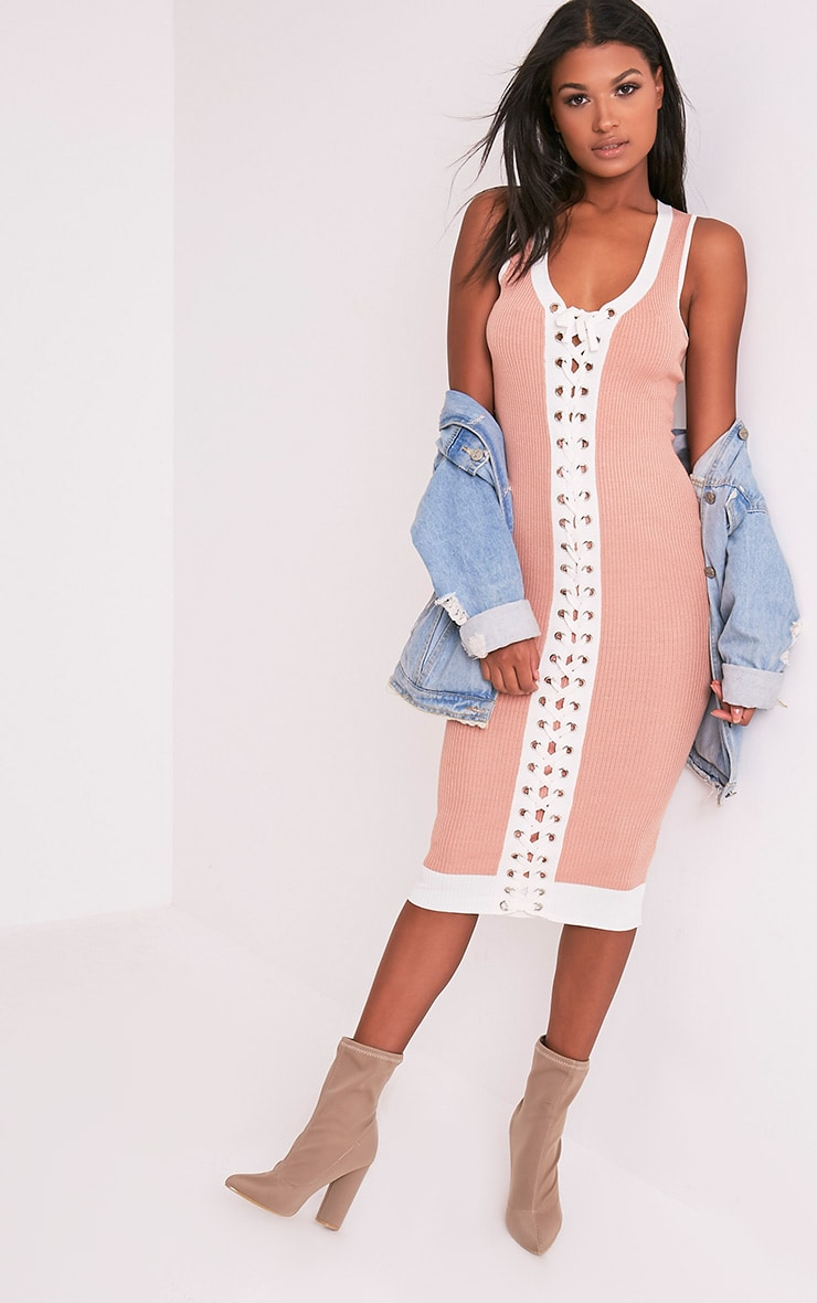 Joseline Knitted Nude Tie Ribbed Maxi Dress 5