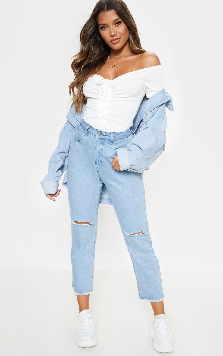 White Rib Bardot Ruched Front Short Sleeve Bodysuit 5