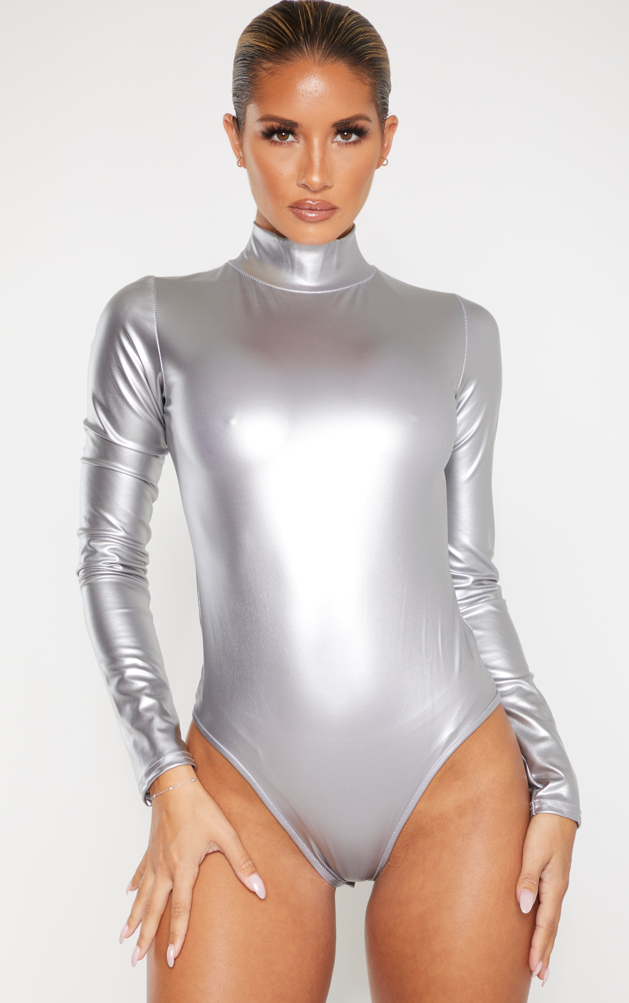 Silver Metallic High Neck Long Sleeve Bodysuit 2