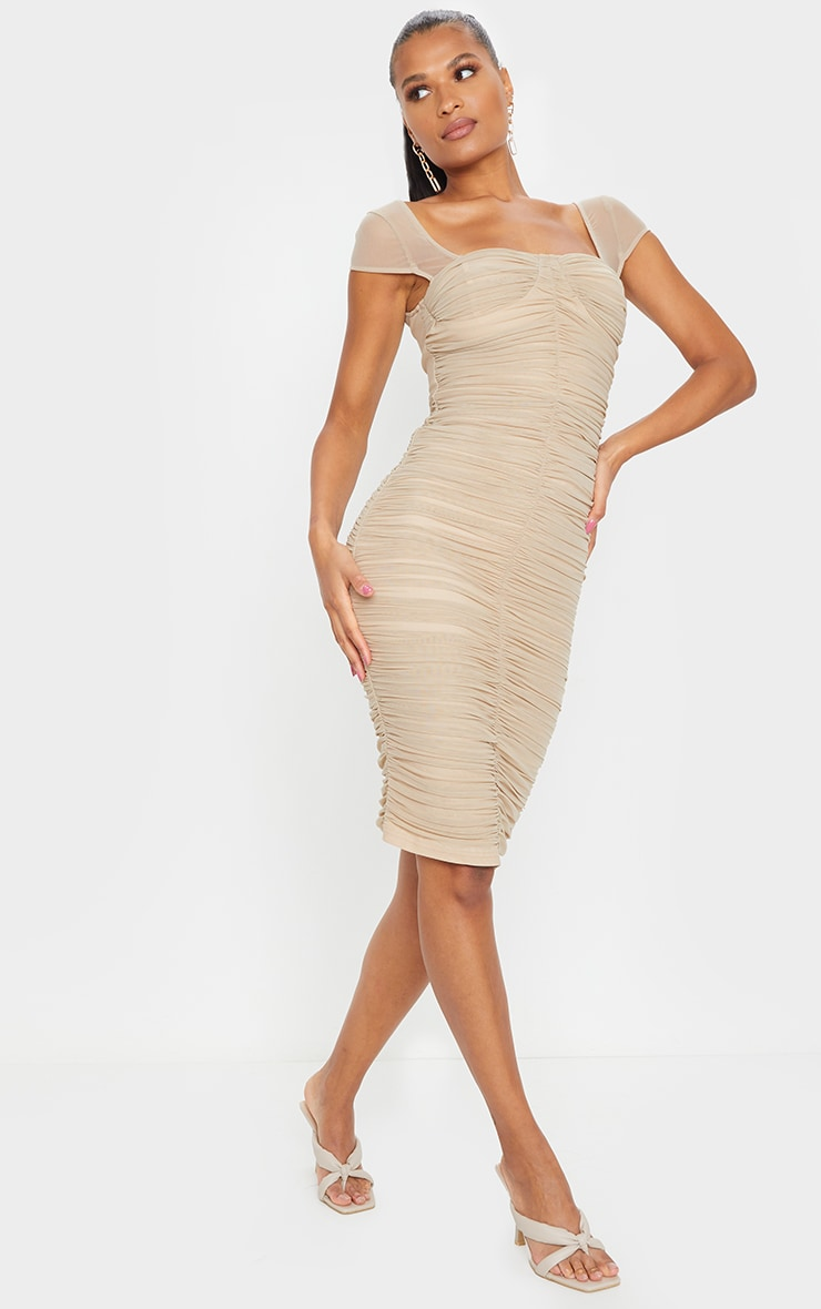 Stone Mesh Ruched Midi Dress 3