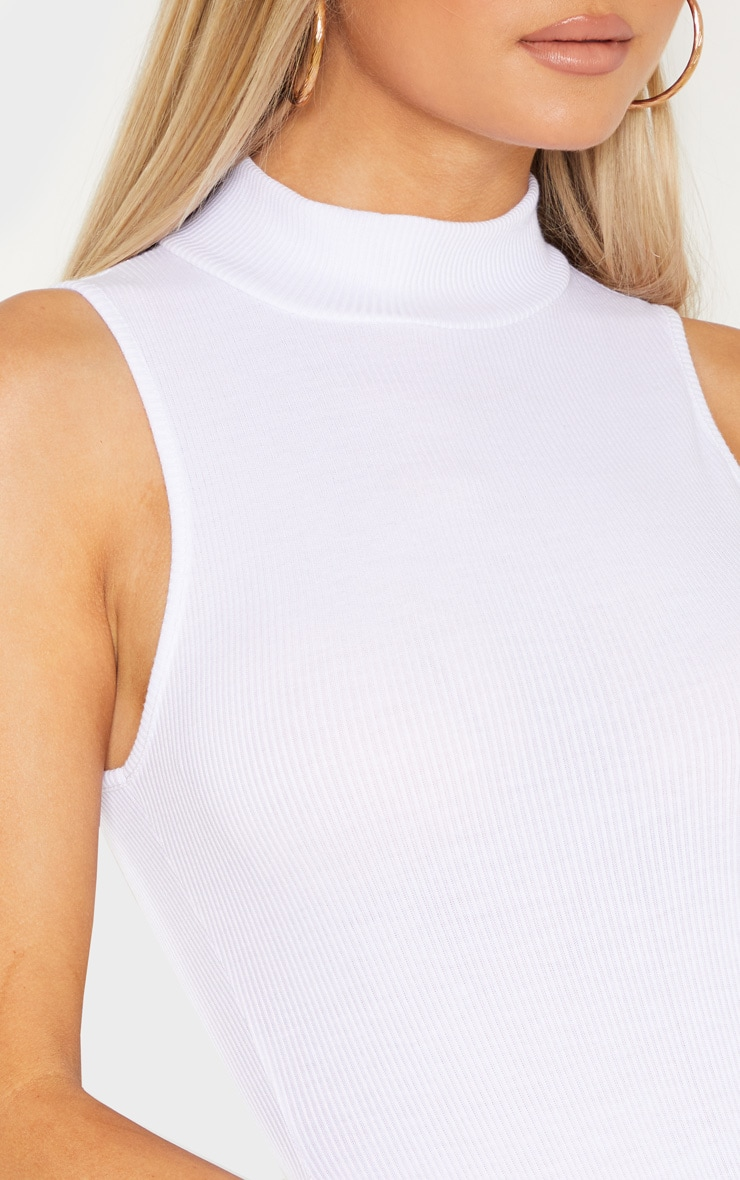 Tall White Sleeveless Rib High Neck Bodysuit 6