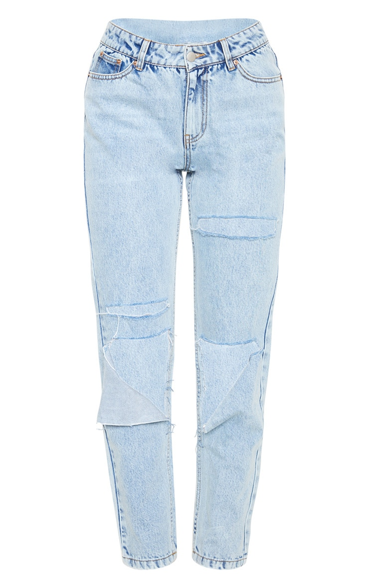 Light Wash Slit Knee Straight Leg Jeans  3