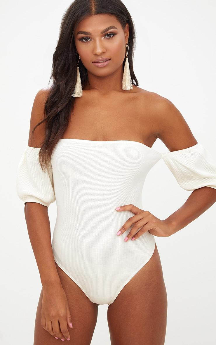 Sand Bardot Rib Puff Sleeve Thong Bodysuit 1
