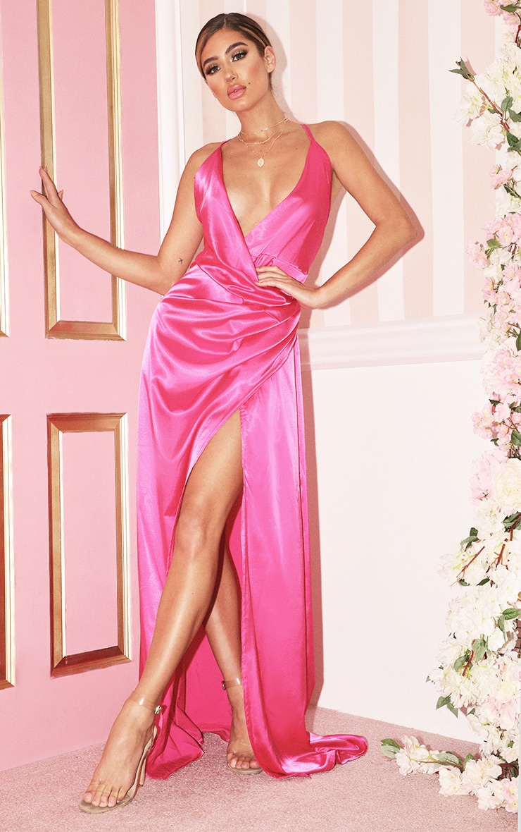 Hot Pink Satin Maxi Dress 1