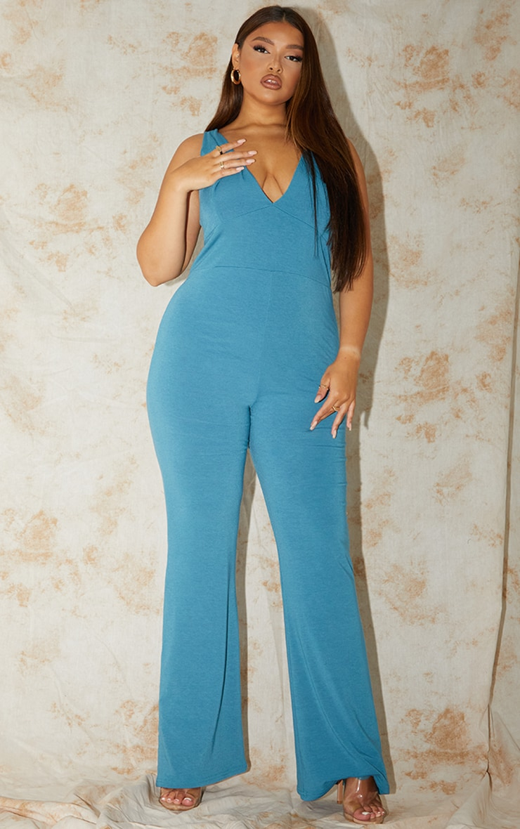 Plus Recycled Blue Contour Jersey Flared Jumpsuit 1