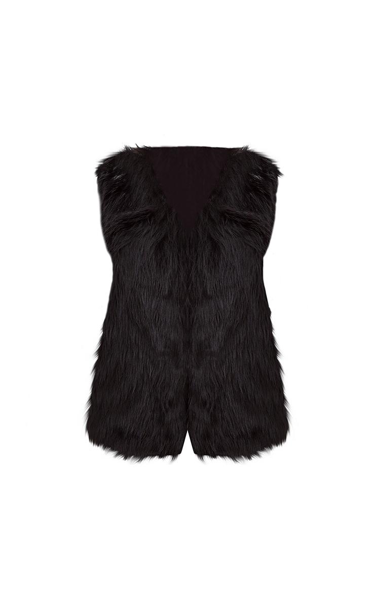 Black Faux Fur Gilet 3