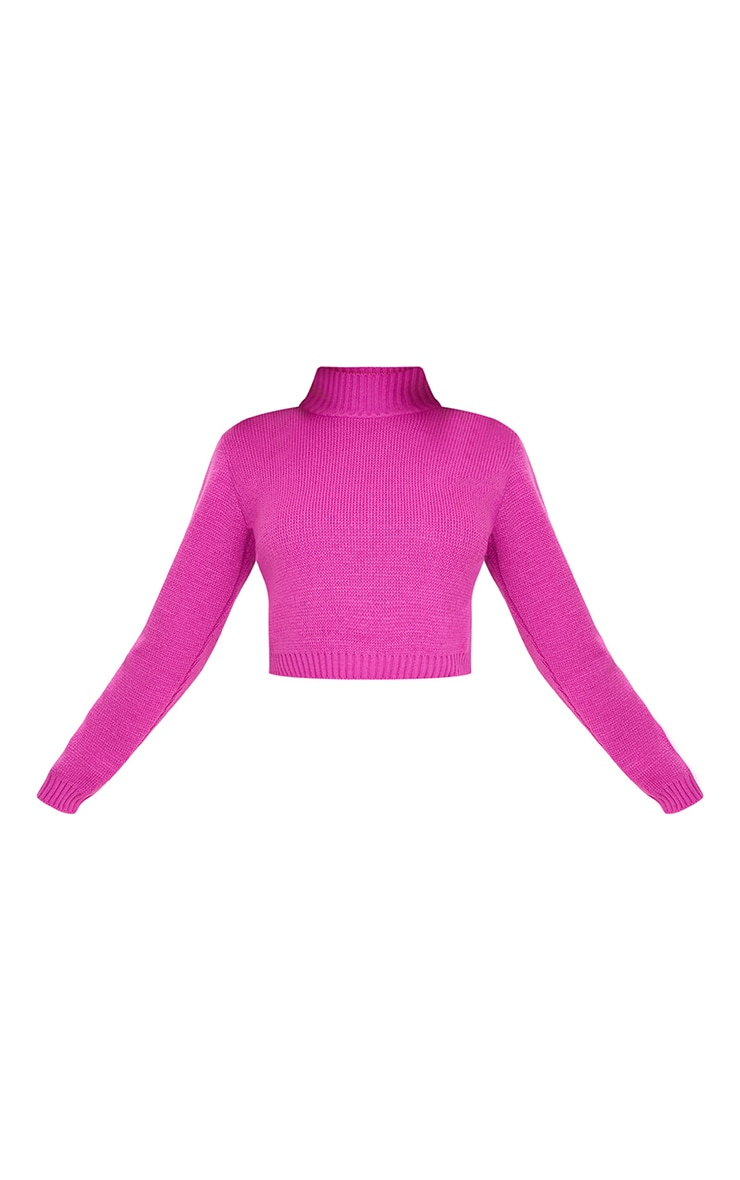 Fuchsia High Neck Soft Knit Cropped Jumper 3