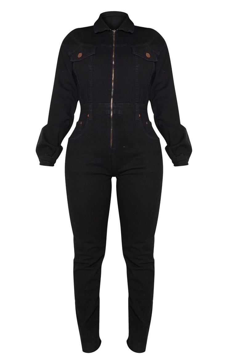 Shape - Combinaison en jean noir à zip devant 3