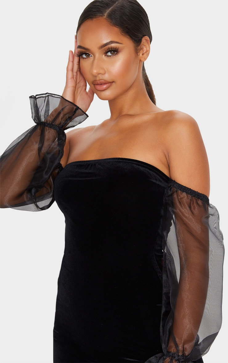Black Organza Bardot Sleeve Velvet Bodycon Dress 5