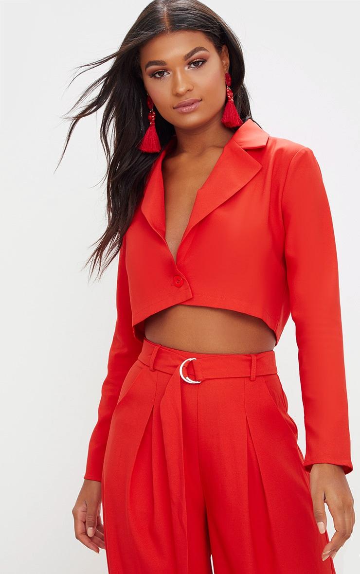 Red Cropped Blazer  1