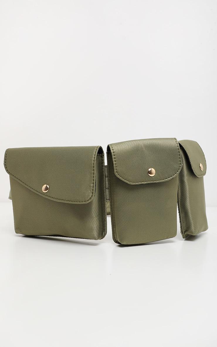 Khaki Triple Pocket Nylon Utility Belt Bag 2