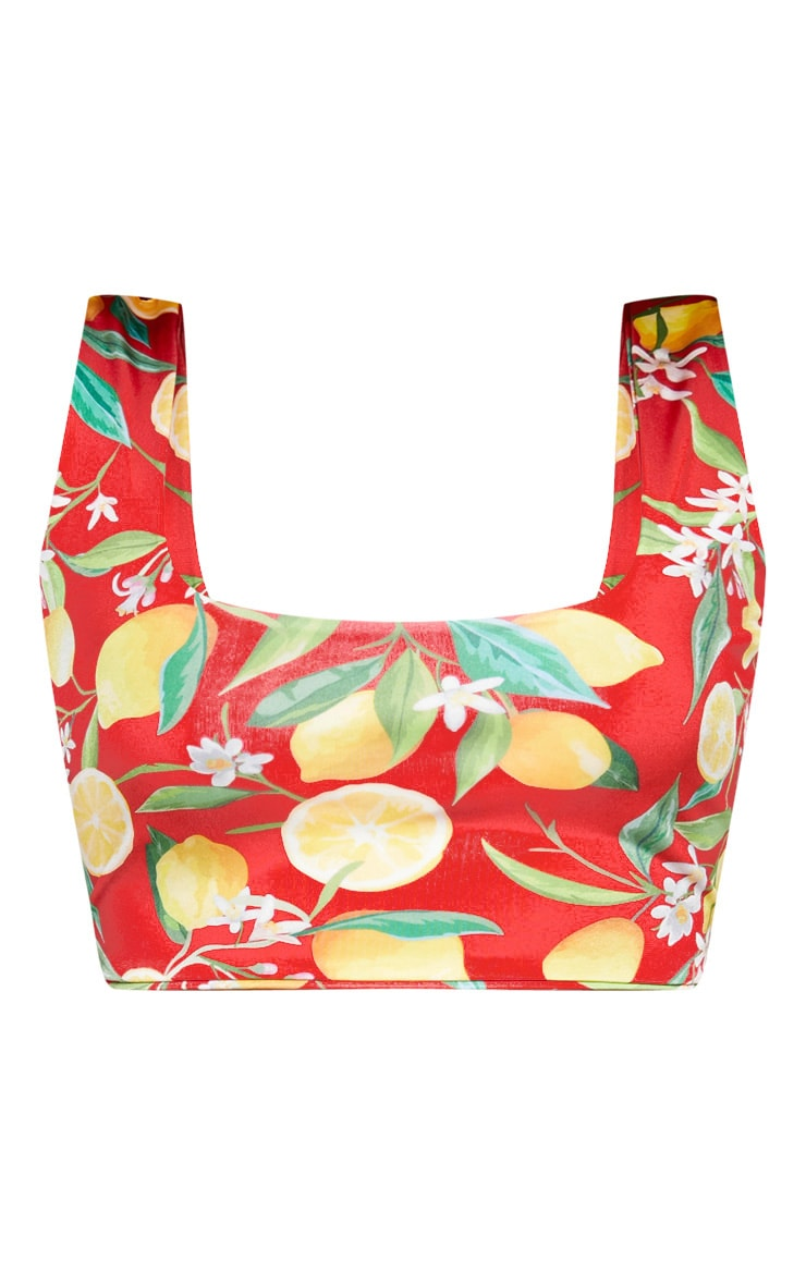 Plus Red Lemon Print Scoop Neck Bikini Top 3